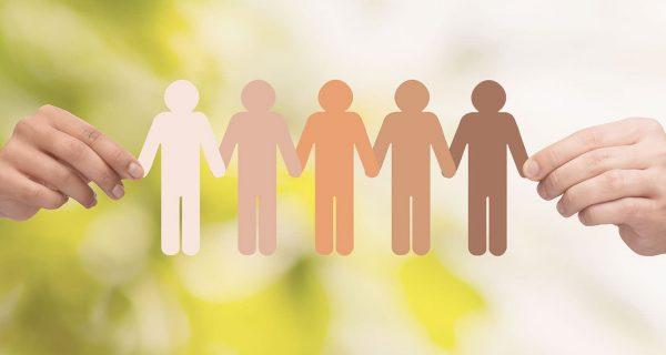 Paper cutout figure of people